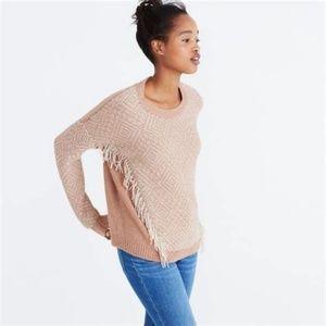 Madewell SZ XS Reverse Diamond Fringe Sweater